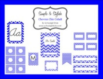 Classroom Decor and Organization Set Chevron Chic Cobalt Blue