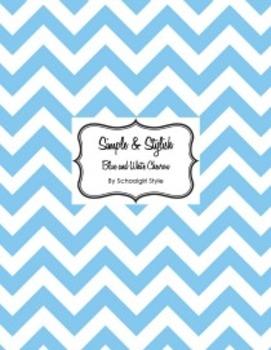 Classroom Decor and Organization Set Chevron Chic Light Blue