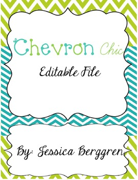 Chevron Chic Lime and Turquoise Editable Labels