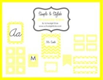 Classroom Decor and Organization Set Chevron Chic-Yellow
