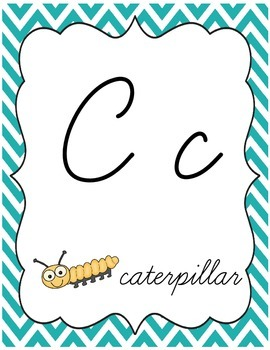Chevron Chic:Lime & Turquoise--Alphabet & Word Wall {Cursive Style}