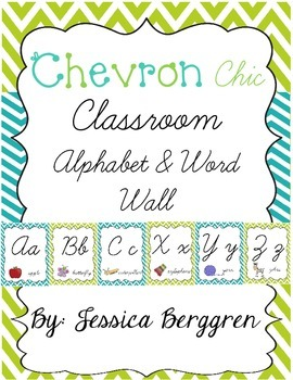 Chevron Chic:Lime & Turquoise--Alphabet & Word Wall {Cursi