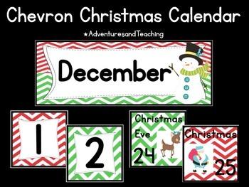 Chevron Christmas Calendar Pack