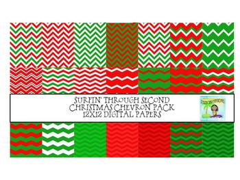 Chevron Christmas Pack Digital Papers