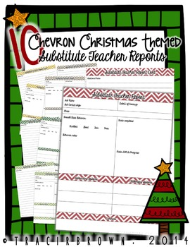 Chevron Christmas Themed Substitute Teacher Report Pack
