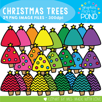 Christmas Trees -  Chevron and Plain - Clipart for Teaching Resources