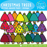 Christmas Trees -  Chevron and Plain - Clipart for Teachin