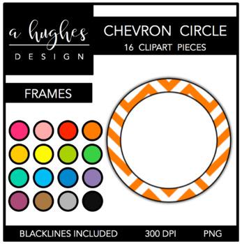 Circle Chevron Frames Clipart {A Hughes Design}