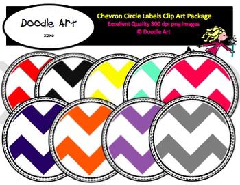 Chevron Circle Labels Clipart Pack
