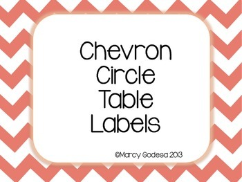 Chevron Circle Table and Pencil Basket Labels