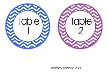 Chevron Circle Table Labels {Primary Colors}