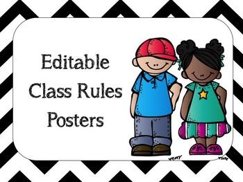 Chevron Class Rules Posters - Editable - Melonheadz Version