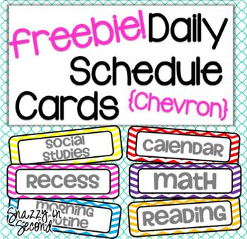 Chevron Class Schedule Cards - FREEBIE!