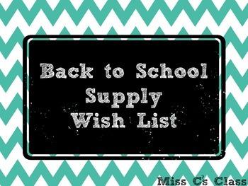 Chevron Class Supply Wish List