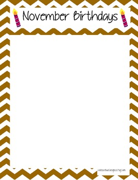 Chevron Classroom Birthday Months Printable