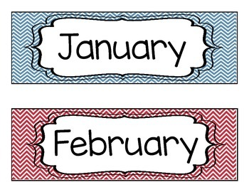 Chevron Classroom Calendar Set