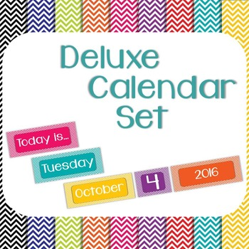 Chevron Classroom Calendar Set 9 Colors Blue Green Turquoise