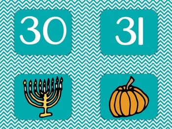 Chevron Classroom Calendar Set 9 Colors Blue Green Turquoise