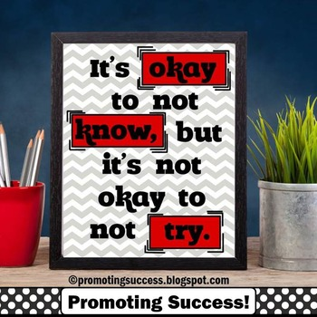 Back to School Poster, Red & Gray Chevron Classroom Decor, Motivational Quote