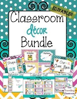 Chevron Polka Dot Theme Editable Classroom Decor Bundle