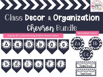 Chevron Classroom Decor Bundle-Editable Labels, Bulletin Board Letters, & More!