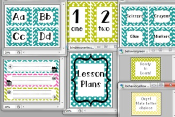 Chevron Classroom Decor Bundle- Letters, Numbers, Name tags, supplies labels