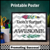 Inspirational Quote Poster, Don't Forget to Be Awesome, Feather Theme