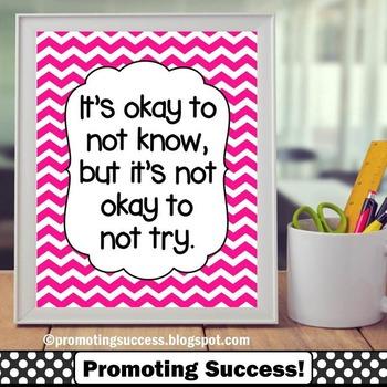 Pink Chevron Classroom Decor Okay to Not Know Printable Poster