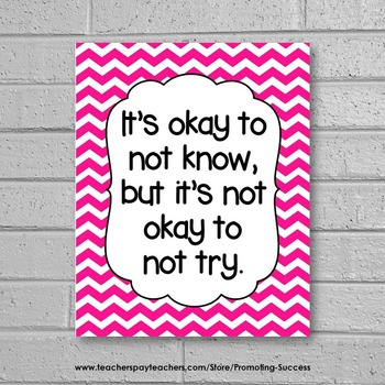 Hot Pink Chevron Classroom Decor Okay to Not Know Inspirational Quote Poster