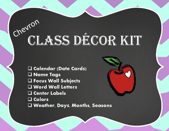 Chevron Classroom Decor Kit
