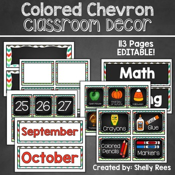 Chevron Classroom Decor - Lime, Teal, and Orange with Chalkboard