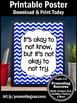 It's Okay to Not Know Quote, Printable Poster, Chevron Classroom Decor