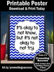 It's Okay to Not Know Quote for Kids Blue Chevron Teacher