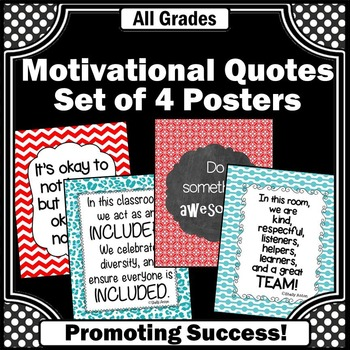 Red and Teal Classroom Decor Posters with Motivational Quo