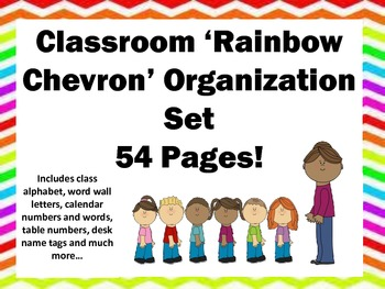 Chevron Classroom Decor Organization Set 54 pages