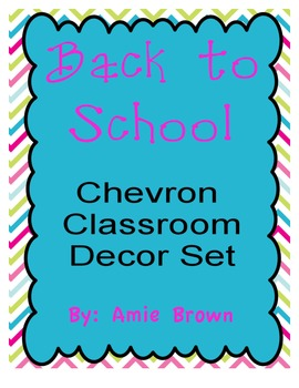Chevron Classroom Decor Set