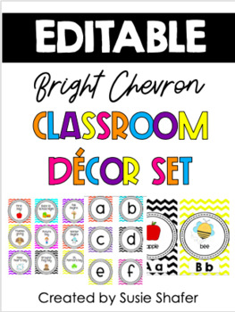 Bright Chevron Classroom Decor Set (UPDATED and EDITABLE)