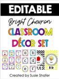 Bright Chevron Classroom Decor Set (UPDATED and EDITABLE)