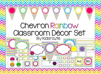 Classroom Decor Set and Labels~ Chevron Rainbow~ EDITABLE