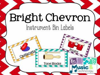 Classroom Instrument Bin Labels- Bright Chevron Borders