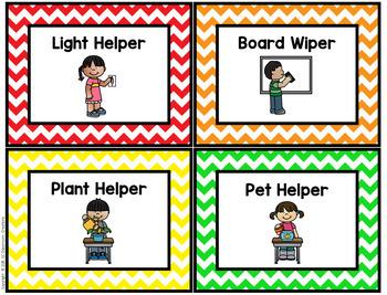 Chevron Classroom Job Chart-Classroom Decor