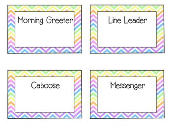 Neon Bright Chevron Classroom Job/Leader Labels