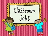Chevron  (color on color ) Classroom Jobs {Pocket Chart or Velcro}