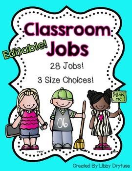 Classroom Jobs Set - Now Editable! {Bright Chevron}