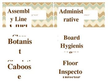 Chevron Classroom Jobs labels