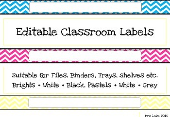 Chevron Classroom Labels A4 wide