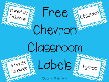Chevron Classroom Labels Freebie- SPANISH