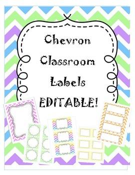 Chevron Classroom Labels Packet - EDITABLE!