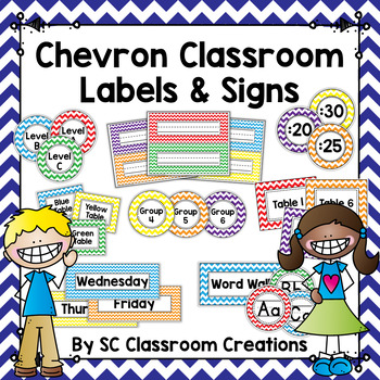 Chevron Classroom Labels and Signs