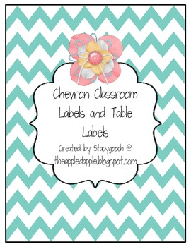 Chevron Classroom Labels and Table Labels